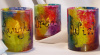 Tie-Dyed votive holders- Dream-Wish-Laugh- Set of 3