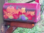 Mailboxes Touched by Fantasy- Fall Splendor- pumpkins, grapes, gourds, fall leaves all around.