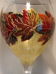 Glassware Touched by Fantasy- Fall Leaves outlined in raised gold outliner