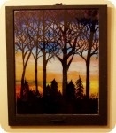 Upcycled Art Touched by Fantasy- Repurposed window with Fall sunset and trees silhouette