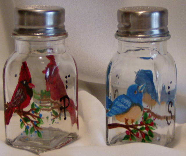 Cardinal and Bluebird Salt & Pepper Shakers