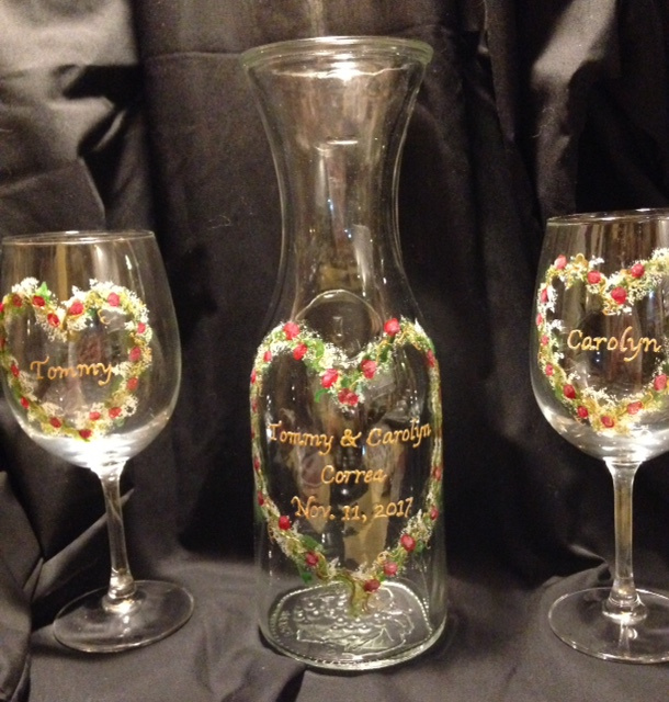 Wedding/Anniversary- Wine Carafe and Matching Wine Glasses