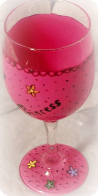 Pink Princess Wine Glass