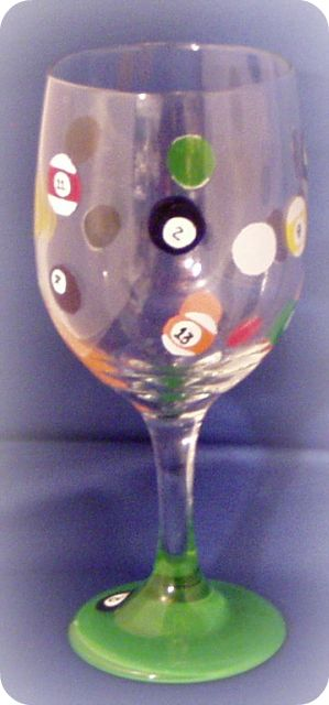 Pool Time- Wine Glass
